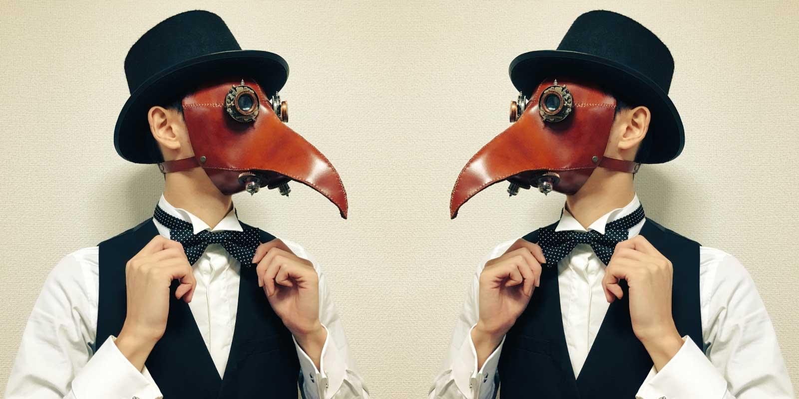 革製のスチームパンクなペストマスクを作った